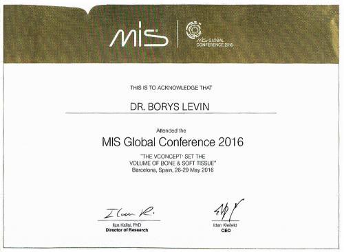 Сертификат участника MIS Global Conferencen 2016